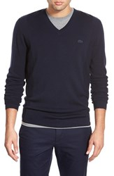 Men's Lacoste V Neck Stretch Wool Sweater