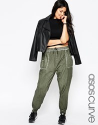 Asos Curve Joggers With Woven Pocket Detail Khaki Green