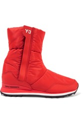 Y 3 Adidas Originals Rhita Leather Trimmed Quilted Shell Boots Red