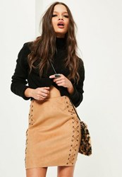 Missguided Tan Faux Suede Eyelet Lace Up Mini Skirt