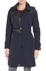Vince Camuto Women's Hooded Trench Coat Navy