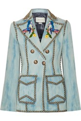 Gucci Studded Embroidered Denim Blazer Mid Denim