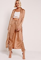 Missguided Eyelet Duster Jacket Nude Bronze