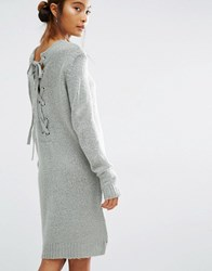 First And I Lace Up Back Knit Dress Grey