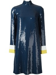 Emilio Pucci Sequined High Neck Dress Blue
