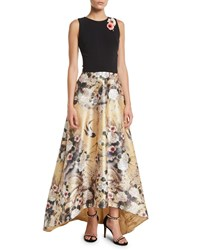 Theia Japanese Parchment Print Sleeveless Gown With Flowers Black