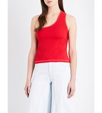 Jacquemus Marcel One Shoulder Cotton Jersey Top Red