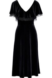 Mikael Aghal Woman Point D'esprit Trimmed Ruffled Velvet Midi Dress Black