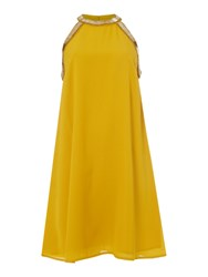 Biba Embellished Neck Summer Mini Dress Yellow