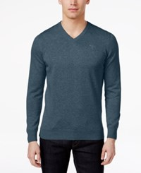 Barbour Men's V Neck Pima Cotton Sweater Dk Chambray