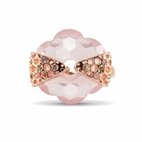 Starrs London Honey Flower Cocktail Ring Rose Gold Pink Purple