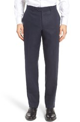 Nordstrom Men's Big And Tall Men's Shop Flat Front Solid Linen Trousers Navy