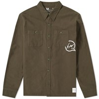 Denim By Vanquish And Fragment Icon Flannel Overshirt Green
