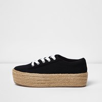 River Island Black Lace Up Espadrille Flatform Sneakers