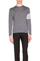 Thom Browne Classic Merino Crewneck Sweater In Gray