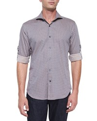 Bogosse Medallion Print Woven Sport Shirt Brown Pattern