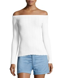 Rag And Bone Kari Ribbed Off The Shoulder Pullover White