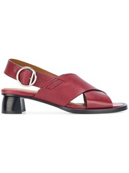 Joseph Crossover Strap Sandals Red