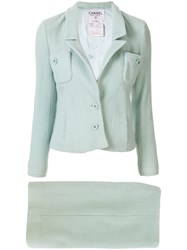 Chanel Pre Owned Slim Fit Skirt Suit Green