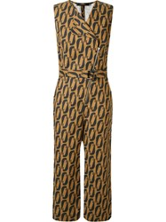 Andrea Marques V Neck Printed Cropped Jumpsuit Black