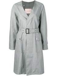 Mackintosh Slate Linen V Neck Coat Lm 096B Grey