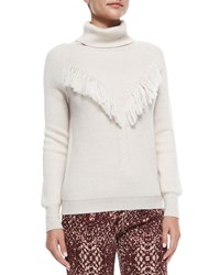 Haute Hippie Long Sleeve Fringe Detail Sweater Oatmeal