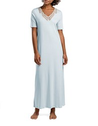 Hanro Valencia Lace Trimmed Cotton Gown Bel Air Blue