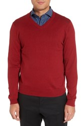 Nordstrom Big And Tall Shop Cotton And Cashmere V Neck Sweater Red Chili