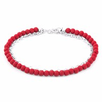 Anchor And Crew Luxe Red Lava Serenity Silver Stone Bracelet Silver Red