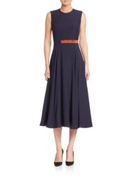 Roksanda Ilincic Banded Waist Pleated Silk Dress Navy Blush