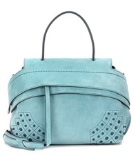 Tod's Wave Mini Suede Tote Blue