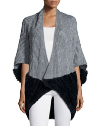 La Fiorentina Knitted Cocoon Cardigan W Rabbit Fur Trim