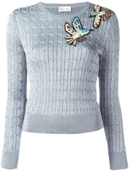 Red Valentino Bird Embroidery Lurex Jumper Metallic