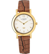 Links Of London Noble Slim Leather Strap Watch Brown
