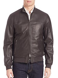 Pal Zileri Leather Jacket Chocolate