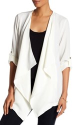 Bobeau Roll Sleeve Crepe Jacket White