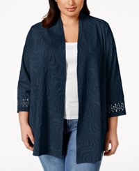 Jm Collection Woman Jm Collection Plus Size Stud Embellished Textured Cardigan Jacket Only At Macy's Intrepid Blue