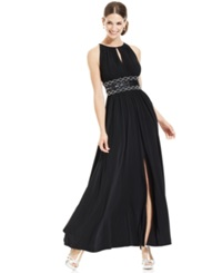 R And M Richards Sleeveless Beaded Evening Gown Black