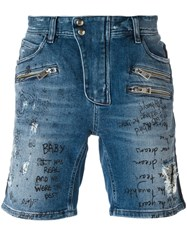 Just Cavalli Distressed Denim Shorts Blue