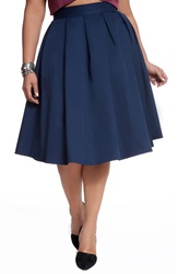 Eloquii Studio Pleat Midi Skirt Plus Size Classic Navy
