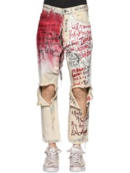 Faith Connexion Vintage Painted And Destroyed Denim Jeans White Red
