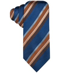 Countess Mara Men's Harrington Stripe Tie Navy Orange