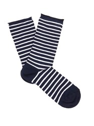 Falke Marine Striped Cotton Blend Socks Navy Multi