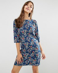 Trollied Dolly Gift Of A Shift Bird And Butterfly Print Dress Navy