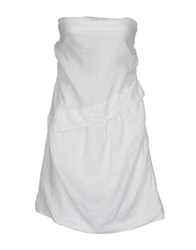 120 Lino Short Dresses White