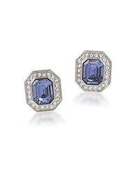 Carolee The Madison Crystal Button Stud Clip On Earrings Blue