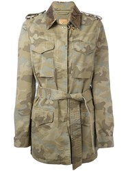Fay Camouflage Pattern Trenchcoat Green