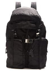 Prada Large Top Flap Nylon Backpack Black