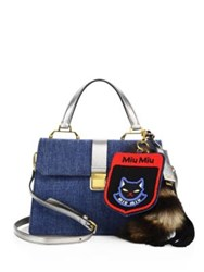 Miu Miu Denim Metallic Leather And Fur Satchel Blue