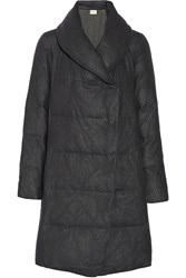 Dkny Quilted Wool Flannel Coat Gray